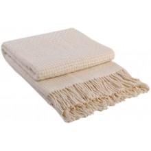 Плед VLADI Рогожка белый-1 шерсть 100% 170х210 см (220061)