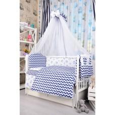 Комплект детского постельного белья Bepino Зигзаги и сердечки синие 95х145 (ПЛ007)