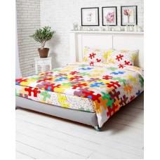 Комплект постельного белья РУНО бязь двуспальный 200х220 (655.116_Пазли)