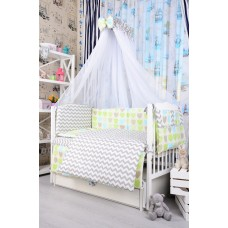 Комплект детского постельного белья Bepino Зигзаги серые и сердечки цветные 95х145 (ПЛ025)