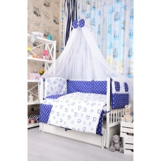 Комплект детского постельного белья Bepino Якорьки и сердечки синие 95х145 (ПЛ005)