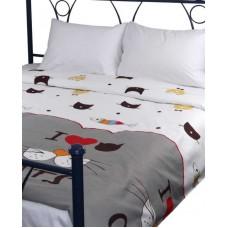 Комплект постельного белья РУНО сатин двуспальный 200х220 (655.137К_My cat)