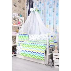 Комплект детского постельного белья Bepino Зигзаги цветные и сердечки синие 95х145 (ПЛ010)