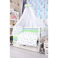 Комплект детского постельного белья Bepino Зигзаги цветные и сердечки синие 95х145 (ПЛ009)