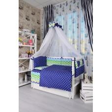 Комплект детского постельного белья Bepino Зигзаги цветные и якорьки 95х145 (ПЛ004)