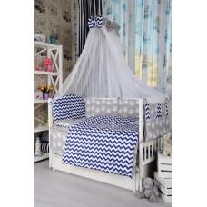 Комплект детского постельного белья Bepino Зигзаги синие и совушки 95х145 (ПЛ011)
