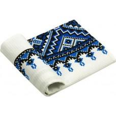 Вафельное полотенце кухонное РУНО 45х80 (202.15_Орнамент синій)