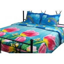 Комплект постельного белья РУНО микрофибра полуторный 143х215 (1.52Тюльпани)
