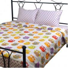 Комплект постельного белья РУНО сатин семейный 220х240 (6.137К_Сови)