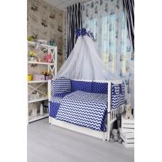 Комплект детского постельного белья Bepino Зигзаги и якорьки синие 95х145 (ПЛ001)